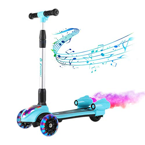 (SKATEBOLT Kick Scooter for Kids, 3-Wheel Spray Rocket Scooter, Adjustable Height, Foldable Design Micro Scooter with Dynamic Spray Effect and Music for Boys & Girls)