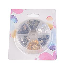 Beadthoven 1Box 1Box 120PCS 6 Colors Iron Clamps Crimp Ribbon Ends, Leather End, Suede End, Mixed Color, 10x7x5mm, Hole: 2mm