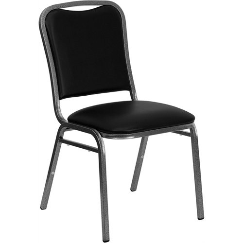 Flash Furniture HERCULES Series Stacking Banquet Chair in Black Vinyl - Silver Vein Frame
