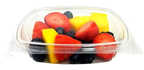 Clear Plastic Hinged Lid Deli Meal Prep Fruit Salad Display Food Storage Containers (Pack of 12) (Recycled Side Tab Closure Storage)