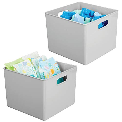 mDesign Plastic Home Storage Organizer Bin for Cube Furniture Shelving in Office, Entryway, Closet, Cabinet, Bedroom, Laundry Room, Nursery, Kids Toy Room - 10