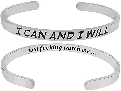 'I Can and I Will Just F-ing Watch Me' Inspirational Mantra Quote Cuff Band Bracelet, Graduation Gifts, Sobriety, AA, Divorce, You Can Do This, Anxiety, Positive Message Motivational Feminist Jewelry ()