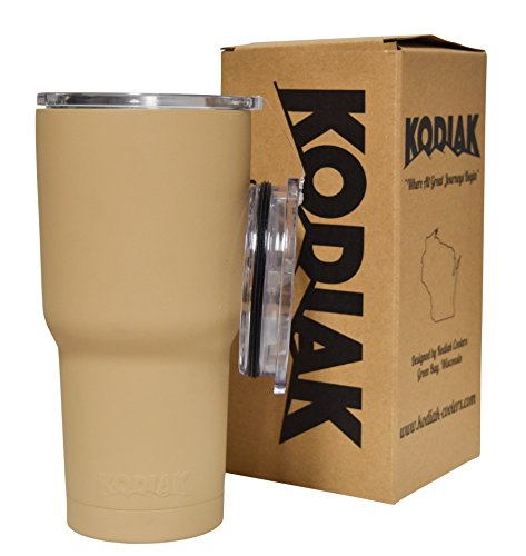 Kodiak Coolers Vacuum Insulated Tumbler Two Lids - Stainless Steel Double Wall - Thermal Coffee Travel Cup Rambler Mug – Thermos BPA Free – Compare to Yeti - Hold Ice 24 Hours (Sand Tan 30)