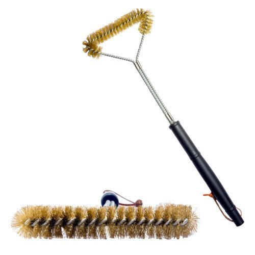 UPC 885154658884, Grill brush - 21 inch, Brass Bristle Wire, Heavy Duty Brush Suitable for Cleaning Weber, Barbecook, Ducane and Nexgrill Gas, Electric and Charcoal BBQs. Unlike Stainless Steel, Won't Scratch Porcelain Coated Barbecue Grills & Grates – Best Guarantee