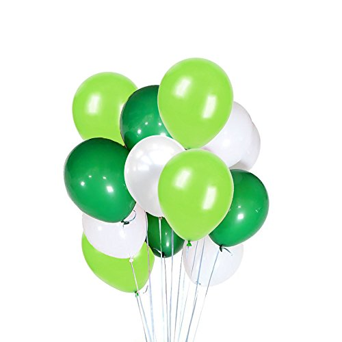 FUNPRT 10 Inch White,Light Green,Dark Green Latex Balloons,100 Count, for Wedding Birthday Party Baby Shower Decoration