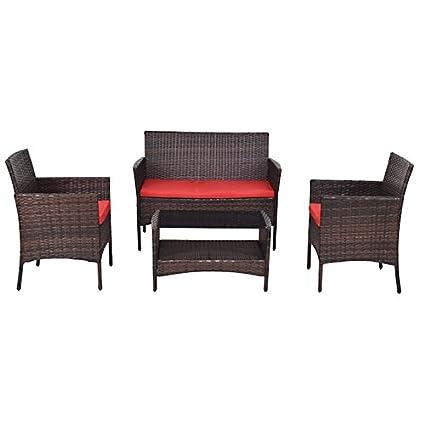 Amazon Com 4 Pcs Patio Rattan Wicker Sofa Set With Red Cushions