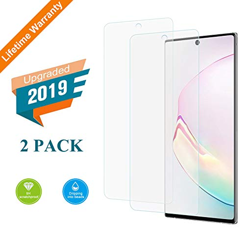 Kacul Screen Protector Compatible with Samsung Galaxy Note 10 2 Pack, Full 3D Curved Edge Tempered Glass Ultrasonic Fingerprint Unlock Cable Security Devices