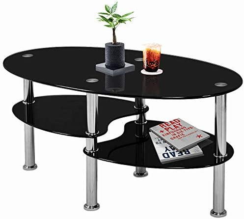 Nidouillet 3 Tier Tempered Glass Table with Glass Shelves and Stainless Steel Legs, Oval-Shaped Coffee Table Living Room Home Furniture 35.4 x 19.7 x17.7 L x W x H – Black AB026