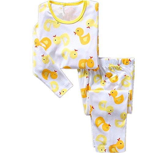 Hooyi Baby Boy Sleepwear Cotton Children Duck Pajamas Set (7Year) -