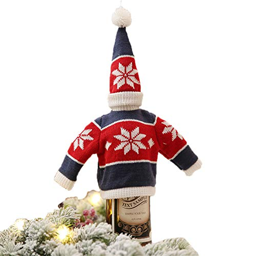 FANRENYOU Christmas Decor for Home Xmas Wine Bottle Bag Cover Santa Claus Deer Bottle Clothes Knitting 1 ()