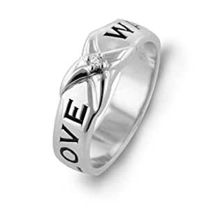 Sterling Silver Diamond Accent 'Love Waits' Purity Ring - Size 7