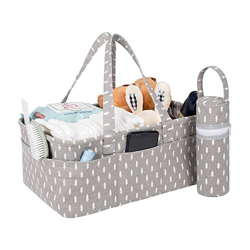 Baby Diaper Caddy Organizer | Baby Shower Gift Storage Basket | Nursery Diaper Tote Bag | Portable Car Travel Organizer for Boys Girls | Newborn Registry Must Haves for Charging ()