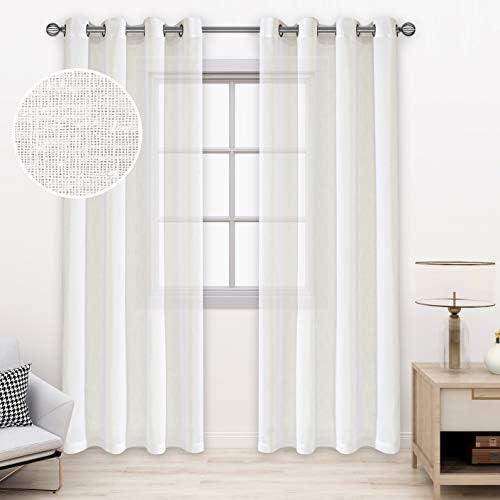 BONZER Burlap Linen Sheer Curtains
