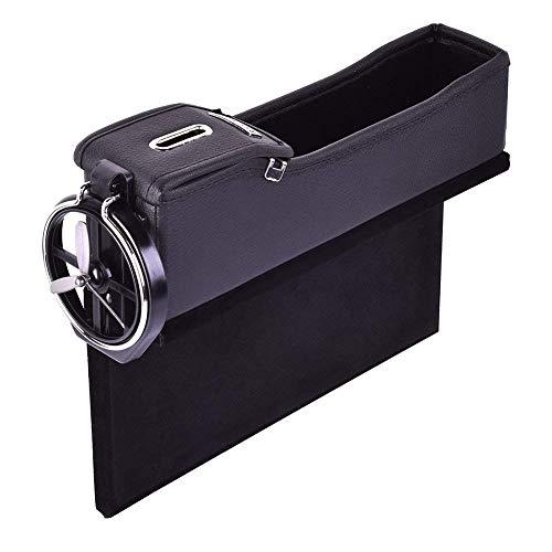 Gap Filler - Premium Full Leather Organizer with Cup Holder, Coin holder, Car Pocket Organizer for Cellphone Wallet l Passenger Side l ()