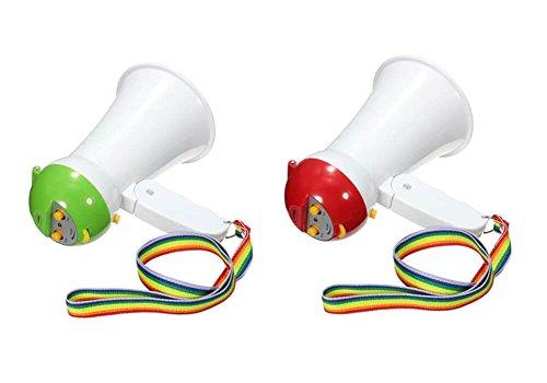 ETN Mini Plastic Cheerleading Megaphone Bullhorn with handle, neck strap Siren for Kids - Speaker Voice Amplifier Foldable Portable Handheld Loud Bulhorn (Green) Small Green Megaphone