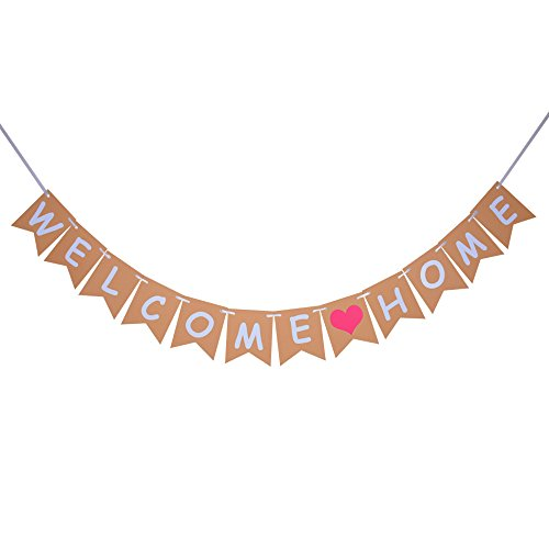 Welcome Home Banner, Vintage Home Decoration for Family Party, Photo -