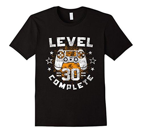 Mens Level Complete 30th birthday Funny Gamer T-Shirt gift idea Large Black