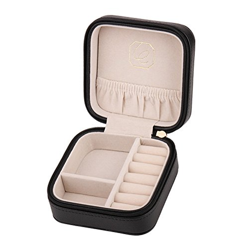 Jewelry Box LELADY Portable Travel Jewelry Organizer Faux Leather Storage Case Holder for Earrings Rings Necklaces, Gifts for Women, Mini Size (Black)