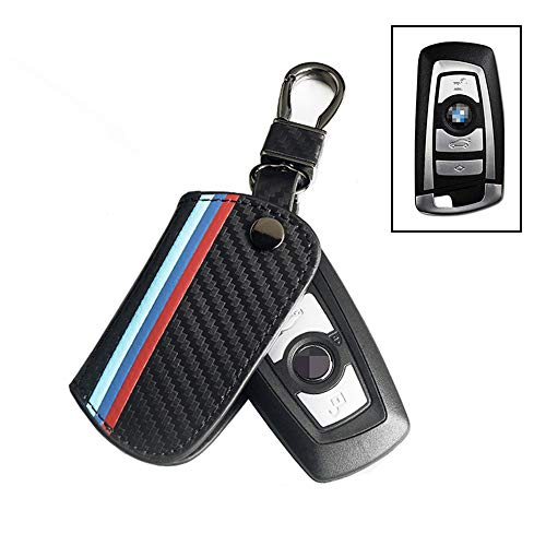 Thor-Ind Carbon Fiber Pattern Leather Key Fob Cover Case Bag Compatible with BMW 1 3 4 5 6 7 Series X3 X4 M5 M6 GT3 GT5 3/4 Buttons Keyless Entry Control Smart Key Protective Shell Holder (A Type) ()