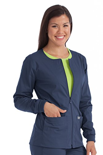 Med Couture Women's In-Seam Zip Front Solid Warm Up Scrub Jacket, New Navy, X-Small (Jacket Scrub Front Zip)