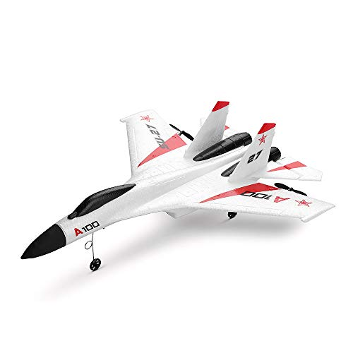 ASfairy-Toy WLtoys A100 SU-27 3CH 2.4G RC Airplane RTF Glider 360° Flip Six Axis Gyroscope Powerful Motor EPP Material Simulation Remote Control Airplane for Kids 14+ Years Old (White)
