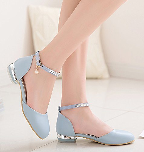 Casual Toe Aisun Strap Women's Ankle Sandals Blue Rhinestones Round with UnxqaZr5wx
