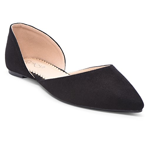 Women's Ballet Flat D'Orsay Comfort Light Pointed Toe Slip On Casual Shoes Black Suede 8 by ShoBeautiful
