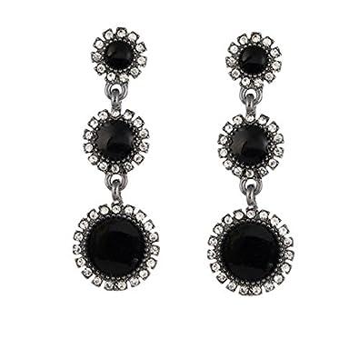 e02fba99d4a Buy OOMPH Jewellery Black Enamel in Silver Tone Long Party Drop Fashion Earrings  for Women   Girls