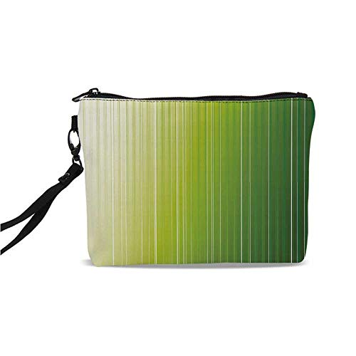 (Sage Simple Cosmetic Bag,Ombre Style Composition with Color Shades and Vertical Digital Stripes Decorative for Women,9