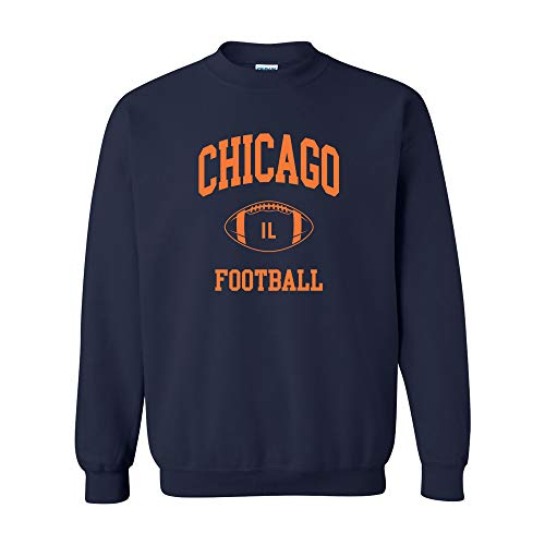 Chicago Classic Football Arch - Hometown Pride Crew Sweatshirt - X-Large - Navy