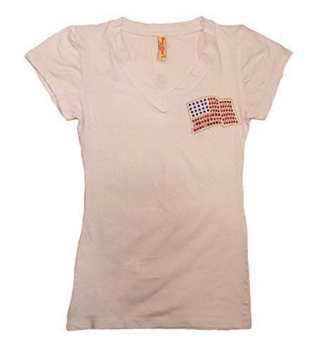 Flag Womens Cap Sleeve T-shirt (Sweet N Cool Junior's Cap Sleeve V-Neck T-Shirt With American Flag (Medium, White))