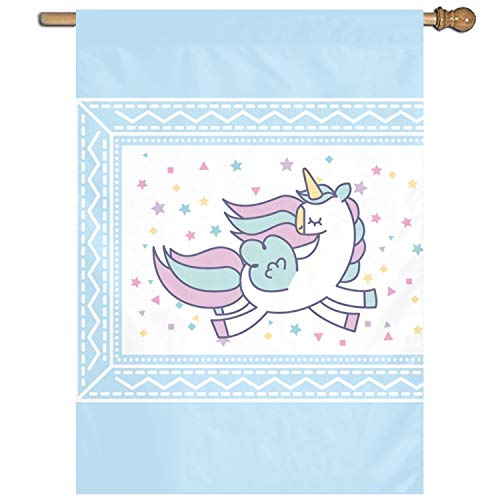 Home Decor Flag Hand Drawn Cute Unicorn Icon One Sided Garden Flag, House Yard Flag Gift 27 x 37 -