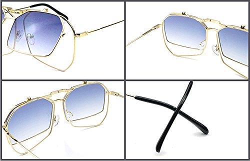 Protector Steampunk Metal Classic Mirror UV400 Flip Rojo Sunglasses Frame Retro Negro 1qwS78fq