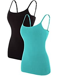 Women's Basic Solid Camisole with Built in Bra Adjustable Spaghetti Strap Tank Top Pack of 2