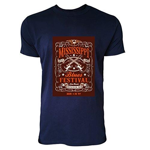 SINUS ART® Retro Poster aus den 60ern und 70ern Herren T-Shirts in Navy Blau Fun Shirt mit tollen Aufdruck