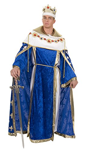 Charades Men's King's Robe Costume and Crown, Royal Blue, X-Large