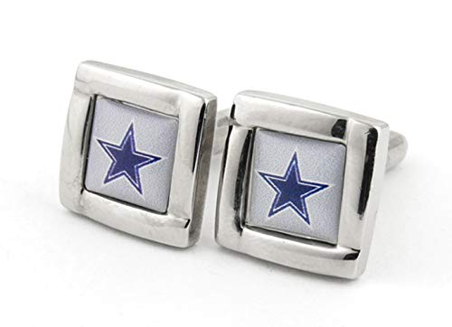 aminco NFL Dallas Cowboys Logo Square Cufflinks with Gift Box Set, One Size, Silver]()