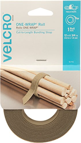Velcro Plus Cable Wraps - VELCRO Brand - ONE-WRAP Roll, Double-Sided, Self Gripping Multi-Purpose Hook and Loop Tape, Reusable, 12' x 3/4