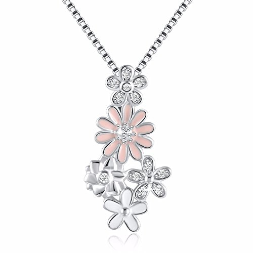 CZ Dazzling Daisy Flowers Vintage Pendant Necklace, Box Chain 18