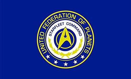 Star Trek Flag | United Federation of Planets Starfleet Command | Long Lasting Flag (90x150 cm / 3x5 ft) (Star Trek United Federation Of Planets Blue Flag)