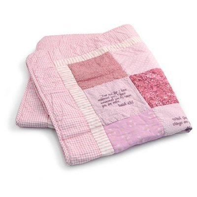 Bible Verse Baby Blanket. Beautiful Baby Quilt Embroidered with Scriptures. Perfect Baptism Gift (Pink)