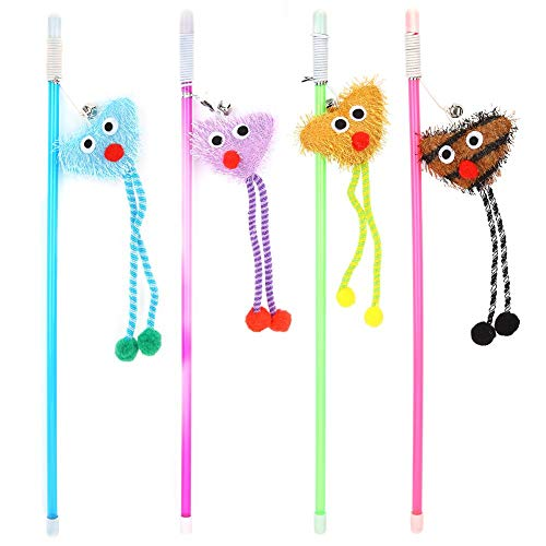HEEPDD 4pcs Cat Teaser Wand Toys, Pet Kitten Transparent Stick Toy with Cute Heart Shape Pendant Interactive Multicoloured Playthings for Cats Scratching Chasing