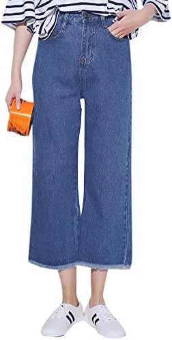 Tengfu Women's Loose Relaxed Straight Wide Leg Denim Pants Jeans Trousers