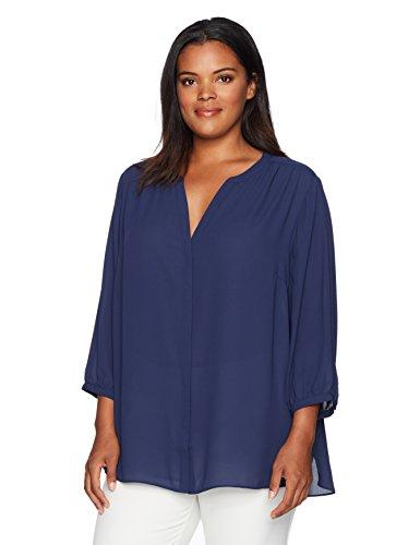 (NYDJ Women's Plus Size 3/4 Sleeve Pintuck Blouse, Peacoat, 3X )
