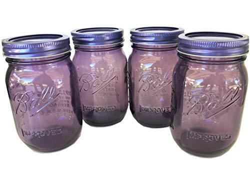 Ball Mason Jars -16 oz. Purple Heritage Set of 4 ()