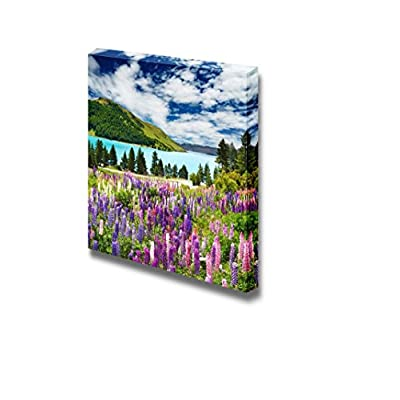 Charming Work of Art, Original Creation, Beautiful Scenery Landscape of Mountain and Lake with Colorful Flowers Wall Decor