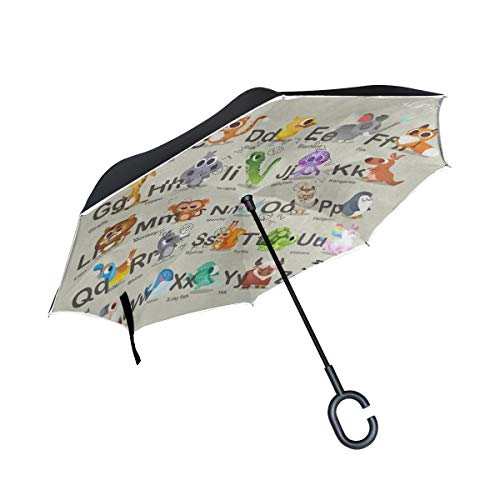 Inverted Umbrella Hipster Animal Double Layer Reverse Umbrella for Car Windproof UV Protection Big Straight with C-Shaped Handle