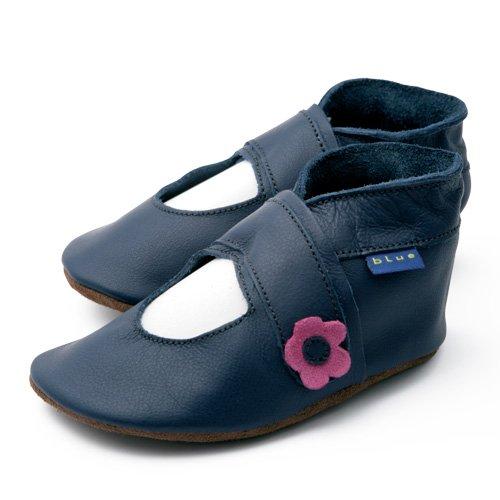 Inch Blue–Zapatos de niñas lujo cochecito de bebé de cuero suave suela Mary Jane azul marino