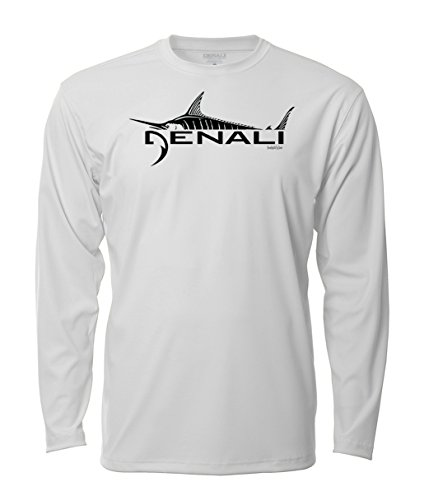 - Denali Performance Men's UPF 50+ ProtectUV Mega Solar Long Sleeve T-Shirt with Denali Marlin Logo White