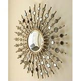 Large Modern Silver Sunburst Starburst Wall Mirror XL